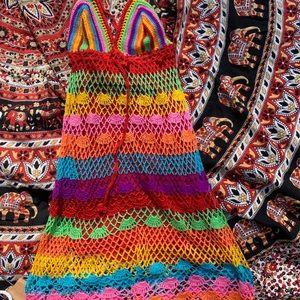 Rat & Boa rainbow colored knitted v neck dress